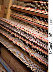 Old Pipe Organ Interior - Interior of an old wooden pipe...