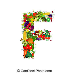 Fresh vegetables and fruits letter F
