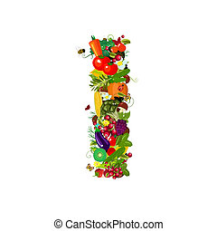 Fresh vegetables and fruits letter I
