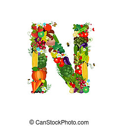 Fresh vegetables and fruits letter N