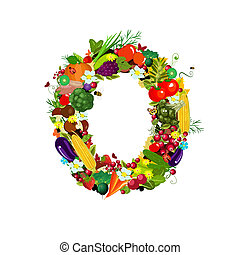 Fresh vegetables and fruits letter O