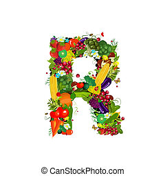 Fresh vegetables and fruits letter R
