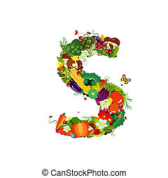 Fresh vegetables and fruits letter S