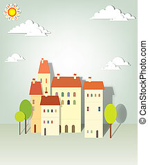 group paper townhouses. creative vector applique
