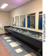 Row of bathroom sinks - public washrooms and sinks in a row