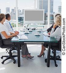 empresa / negocio, gente, reunido, vídeo, conferencia
