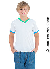 Happy young boy smiling with a white shirt - Happy young boy...