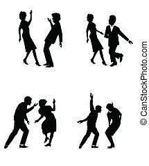 twisting all night long - couples in silhouette dancing the...