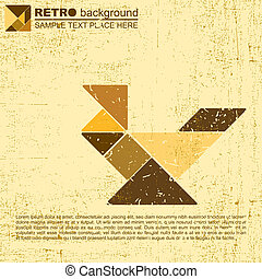 tangram bird - vector illustration