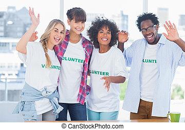 Grupo, voluntários, ficar, junto