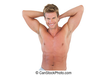 Shirtless man showing his muscles on white background