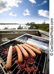 Hotdog BBQ - hotdogs on a barbeque