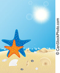 Shells and starfishes on sand background Vector illustration...