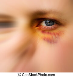 Abstract Black Eye - Black eye detail of a woman - purple...