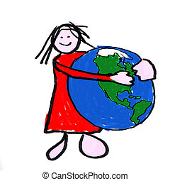Safe World - A girl holding the globe - a childlike drawing