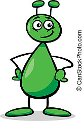 alien or martian cartoon illustration - Cartoon Illustration...