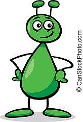 alien or martian cartoon illustration - Cartoon Illustration...