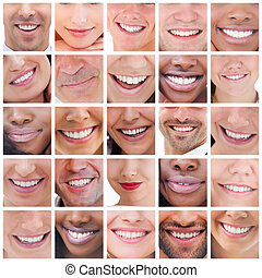 Collage of people smiling - Collage of various pictures of...