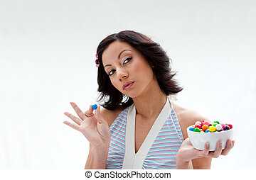 Happy candy girl - Happy beautiful candy girl with a bowl of...