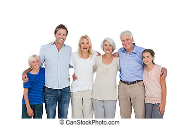 Extended family gesturing on white background