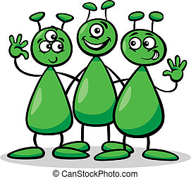 aliens or martians cartoon illustration - Cartoon...