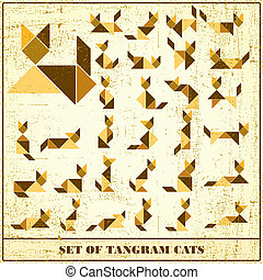 Set of grunge tangram cats - vector set