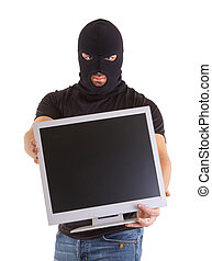 Criminal with balaclava and monitor - Criminal with...