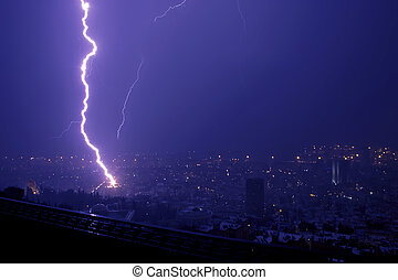Lightning over Haifa - Lightning hitting one night in Haifa