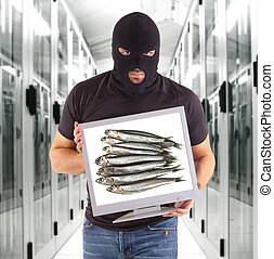 Phishing metaphor with hacker