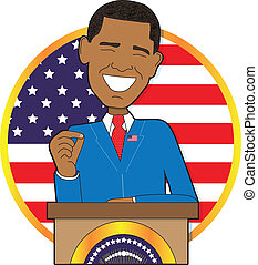 Obama - A portrait of President Barack Obama standing at a...