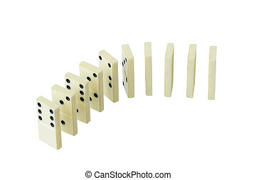 Spread out in a number of dominoes. Isolated....