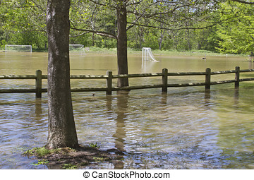 Soccer Field Flooding - A soccer field completely flooded by...