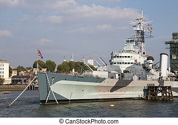 Warship - A warship on the river Thames in London