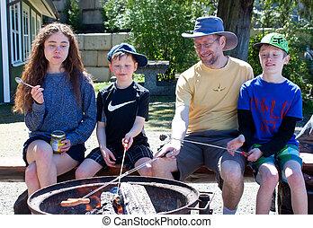 fogo, acampamento, piquenique, família