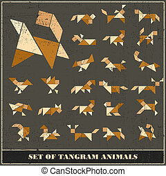 Set of grunge tangram animals - vector set