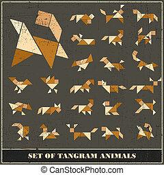 Set of grunge tangram animals - vector set