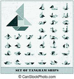 Tangram set of ships
