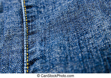 Seam of blue jeans
