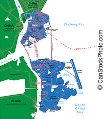 Macau Map - Highly detailed vector map of Macau with...