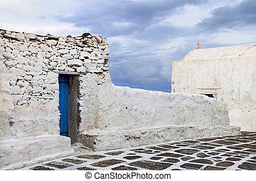 Mykonos island in Greece - Old streets at Mykonos island in...
