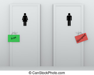 toilets occupied and free - Public bathrooms for men and...