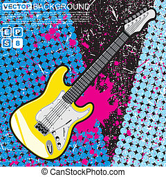 Guitar on color grunge background