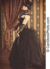 heroine - Full length portrait of a beautiful steampunk...