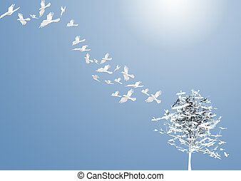 Abstract Tree with white birds - Crows fly away from the...