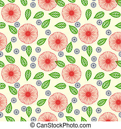 Vector pattern with flowers drawn in thin lines