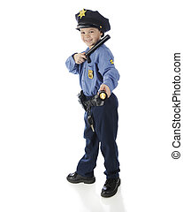 Small Shining Police - Full length image of a young...