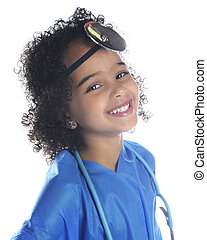 Pretty Preschool Doc - Close-up preschool doctor portrait On...