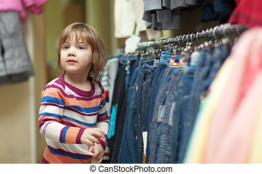 two-year child at clothes shop