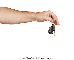 Handing over keys - Caucasian man handing over a set of car...