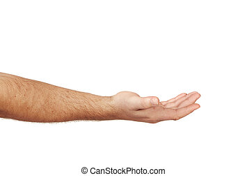 ready to receive - Caucasian hand of a man ready to receive...